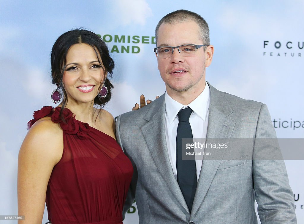 Luciana Barroso (L) and Matt Damon arrive at the Los Angeles premiere of 'Promised Land' held at Directors Guild Of America on December 6, 2012 in Los Angeles, California.