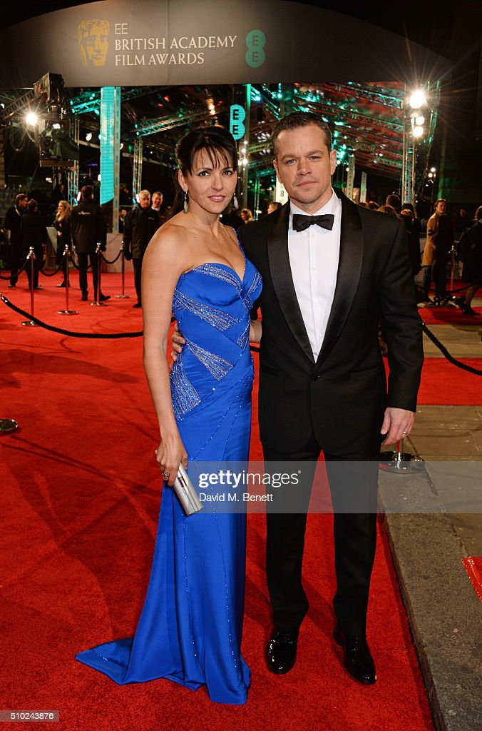 Luciana Barroso (L) and <a gi-track='captionPersonalityLinkClicked' href=/galleries/search?phrase=Matt+Damon&family=editorial&specificpeople=202093 ng-click='$event.stopPropagation()'>Matt Damon</a> attend the EE British Academy Film Awards at The Royal Opera House on February 14, 2016 in London, England.