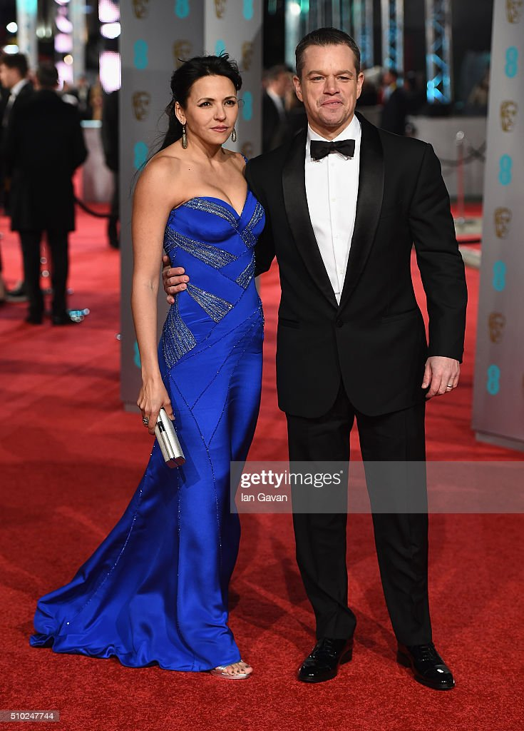 Luciana Damon and Matt Damon attend the EE British Academy Film Awards at the Royal Opera House on February 14, 2016 in London, England.