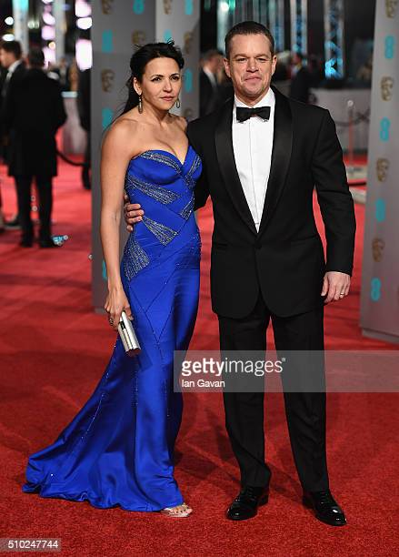 Luciana Barroso and Matt Damon attend the EE British Academy Film Awards at the Royal Opera House on February 14 2016 in London England
