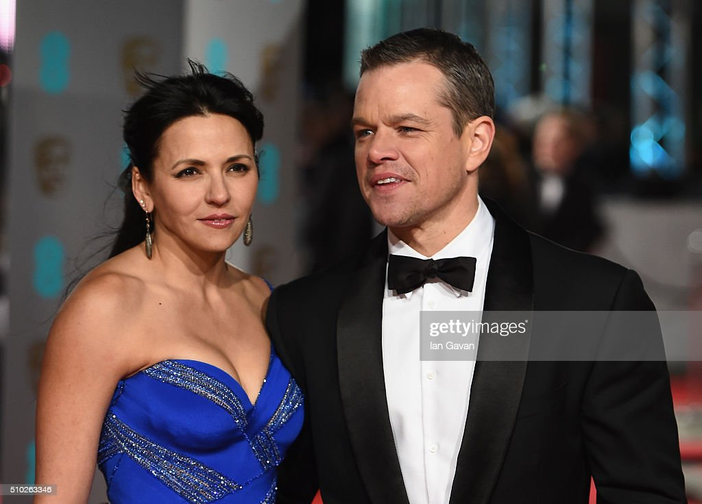 Luciana Barroso and <a gi-track='captionPersonalityLinkClicked' href=/galleries/search?phrase=Matt+Damon&family=editorial&specificpeople=202093 ng-click='$event.stopPropagation()'>Matt Damon</a> attend the EE British Academy Film Awards at the Royal Opera House on February 14, 2016 in London, England.