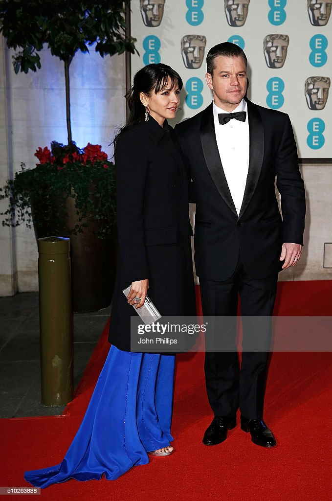Luciana Barroso and <a gi-track='captionPersonalityLinkClicked' href=/galleries/search?phrase=Matt+Damon&family=editorial&specificpeople=202093 ng-click='$event.stopPropagation()'>Matt Damon</a> attend the official After Party Dinner for the EE British Academy Film Awards at The Grosvenor House Hotel on February 14, 2016 in London, England.