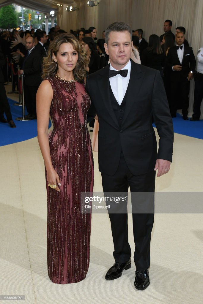 Luciana Damon and Matt Damon attend the 'Rei Kawakubo/Comme des Garcons: Art Of The In-Between' Costume Institute Gala at Metropolitan Museum of Art on May 1, 2017 in New York City.