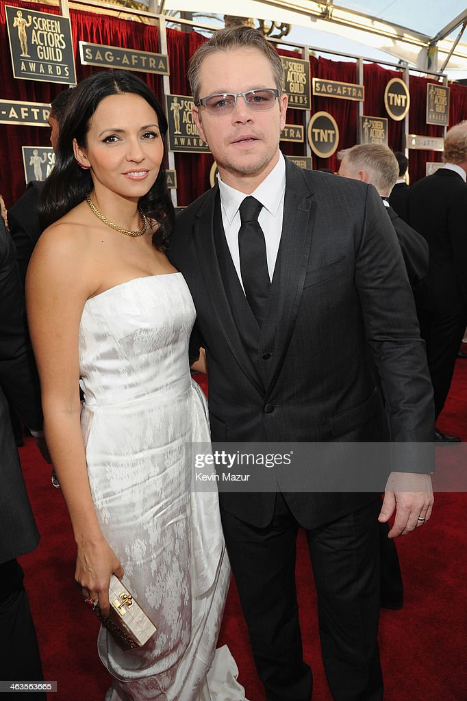 Luciana Damon and Matt Damon attends 20th Annual Screen Actors Guild Awards at The Shrine Auditorium on January 18, 2014 in Los Angeles, California.