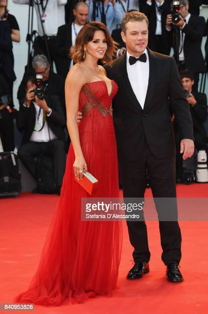 Luciana Damon and Matt Damon walk the red carpet ahead of the 'Downsizing' screening and Opening Ceremony during the 74th Venice Film Festival at...