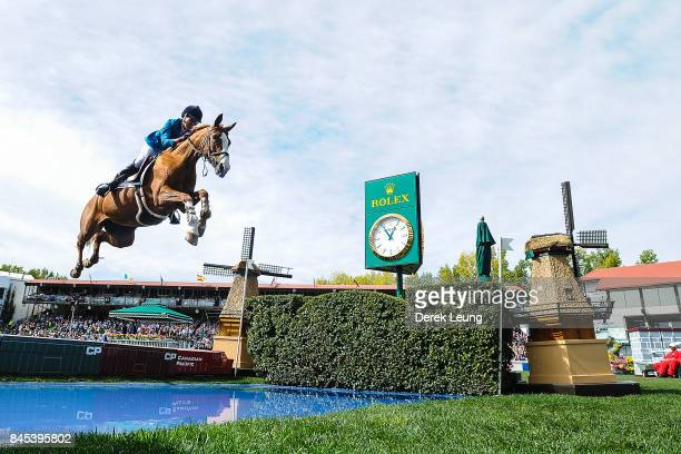 Luciana Diniz of Portugal riding Fit For Fun 13 placed second in the individual jumping equestrian on the final day of the Masters tournament at...