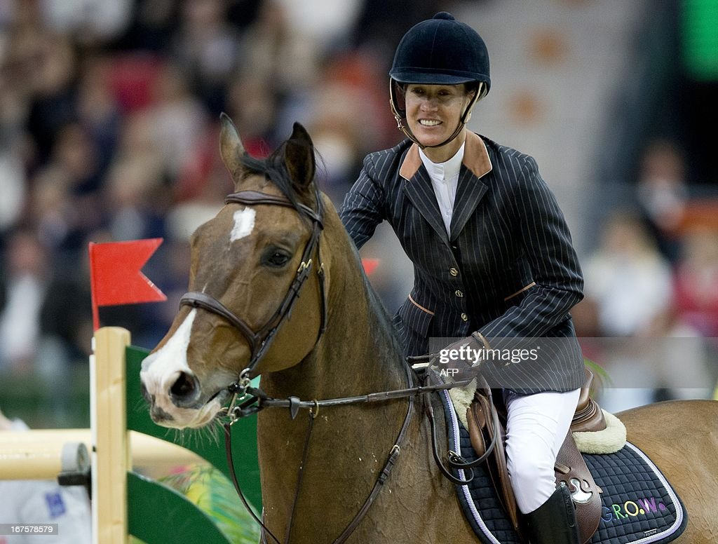 Luciana Diniz, Portugal, rides her horse Lennox during the Rolex FEI World Cup Jumping final Friday April 26, 2013 during the Gothenburg Horse Show in Scandinavium.
