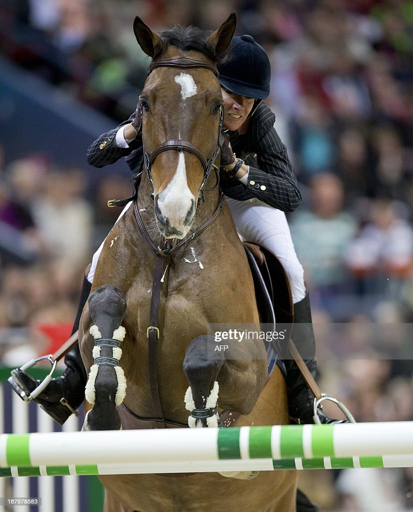 Luciana Diniz, Portugal, rides her horse Lennoxduring the Rolex FEI World Cup Jumping final Friday April 26, 2013 during the Gothenburg Horse Show in Scandinavium.