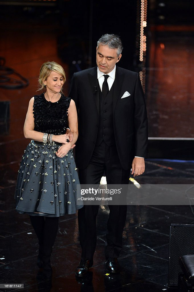 Luciana Littizzetto and Andrea Bocelli attend the closing night of the 63rd Sanremo Song Festival at the Ariston Theatre on February 16, 2013 in Sanremo, Italy.