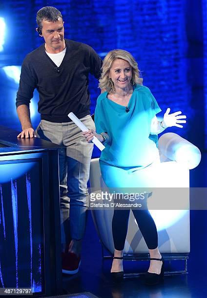 Luciana Littizzetto and Antonio Banderas attend Che Tempo Che Fa' Tv Show on April 27 2014 in Milan Italy