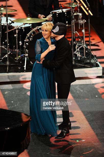 Luciana Littizzetto and Bloody Beetroots attend fourth night of the 64th Festival di Sanremo 2014 at Teatro Ariston on February 21 2014 in Sanremo...