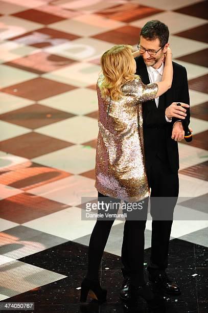 Luciana Littizzetto and Fabio Fazio attend fourth night of the 64th Festival di Sanremo 2014 at Teatro Ariston on February 21 2014 in Sanremo Italy