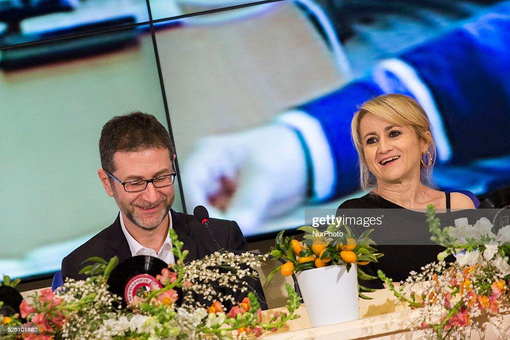 Luciana Littizzetto and Fabio Fazio attend the 64th San Remo Song Festival 2014 press conference at Teatro Ariston on February 18 2014 in Sanremo...