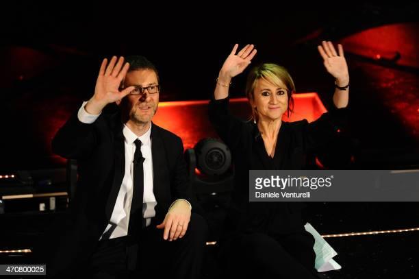 Luciana Littizzetto and Fabio Fazio attend the third night of the 64th Festival di Sanremo 2014 at Teatro Ariston on February 20 2014 in Sanremo Italy