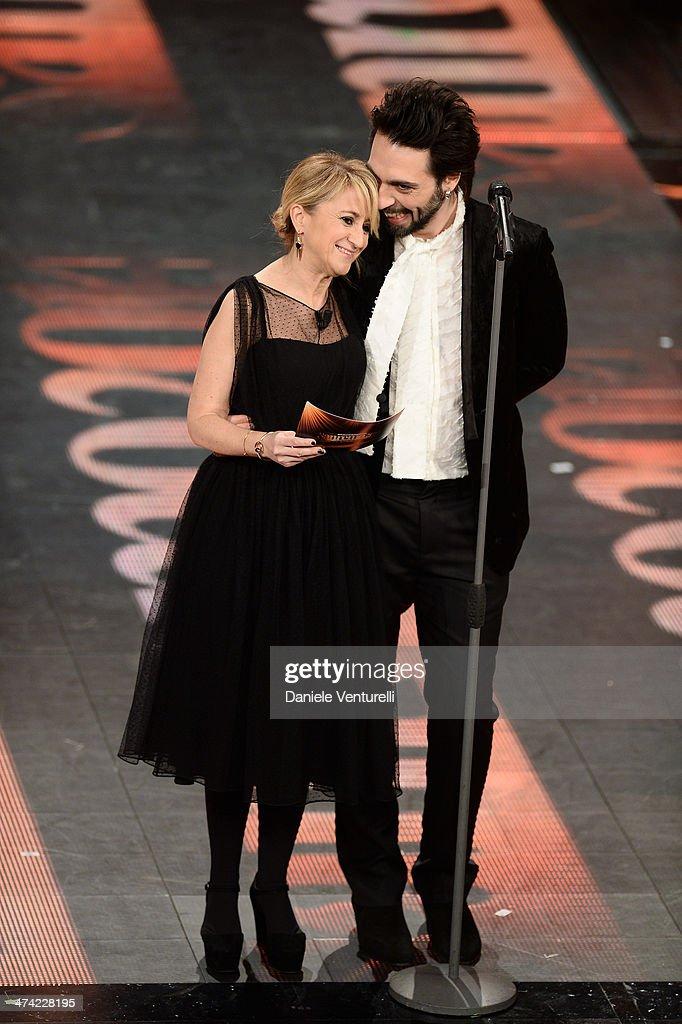 Luciana Littizzetto and Francesco Sarcina attend closing night of the 64th Festival di Sanremo 2014 at Teatro Ariston on February 22, 2014 in Sanremo, Italy.