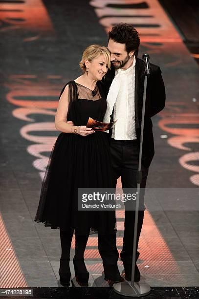 Luciana Littizzetto and Francesco Sarcina attend closing night of the 64th Festival di Sanremo 2014 at Teatro Ariston on February 22 2014 in Sanremo...