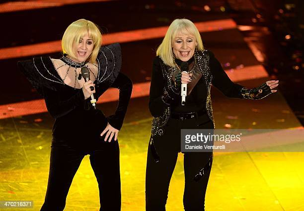 Luciana Littizzetto and Raffaella Carra attend the opening night of the 64th Festival di Sanremo 2014 at Teatro Ariston on February 18 2014 in...