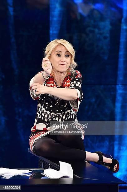 Luciana Littizzetto attends 'Che Tempo Che Fa' TV Show on April 12 2015 in Milan Italy
