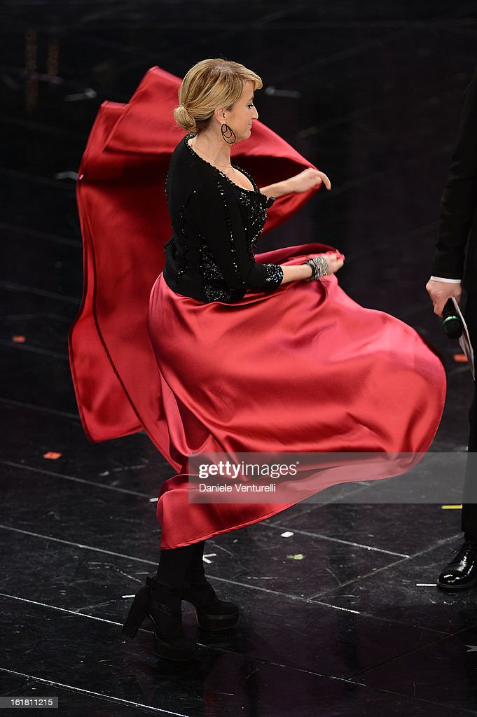 Luciana Littizzetto attends the closing night of the 63rd Sanremo Song Festival at the Ariston Theatre on February 16, 2013 in Sanremo, Italy.