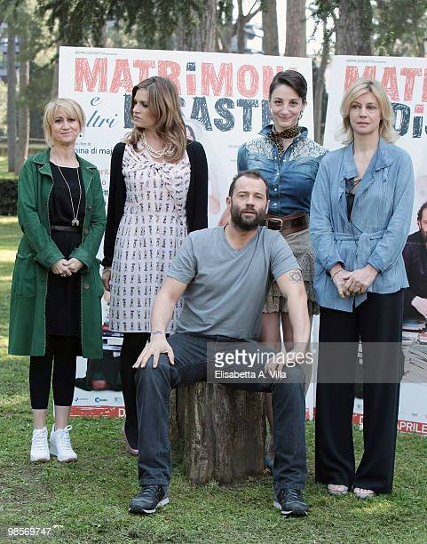 Luciana Littizzetto director Nina Di Majo Fabio Volo Francesca Inaudi and Margherita Buy attend a photocall for the movie 'Matrimoni E Altri...