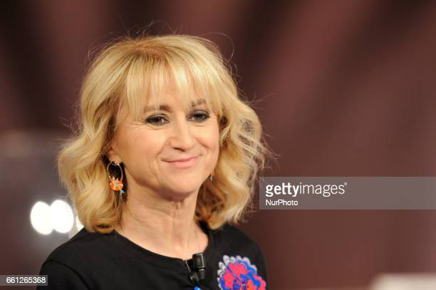 Luciana Littizzetto Italian comic comedian radio host voice actress television host author and actress during the tv show Che Tempo Che Fa in Milan...