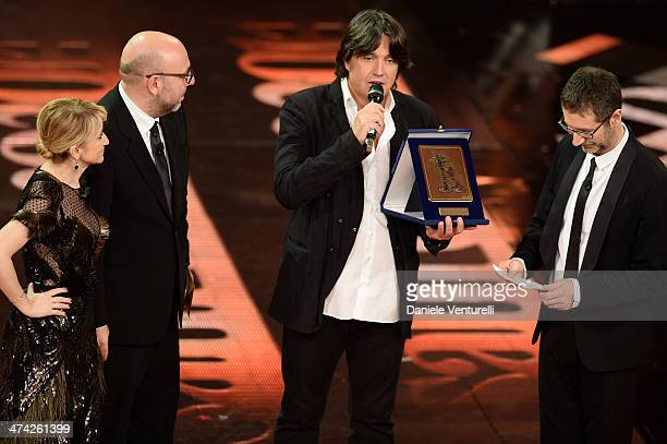 Luciana Littizzetto Paolo Virzi Cristiano De Andre and Fabio Fazio attend closing night of the 64th Festival di Sanremo 2014 at Teatro Ariston on...