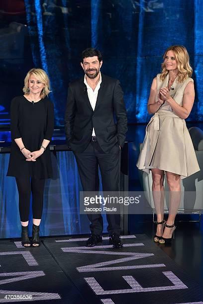 Luciana Littizzetto Pierfrancesco Favino and Filippa Lagerback attend 'Che Tempo Che Fa' TV Show April 19th 2015 on April 19 2015 in Milan Italy