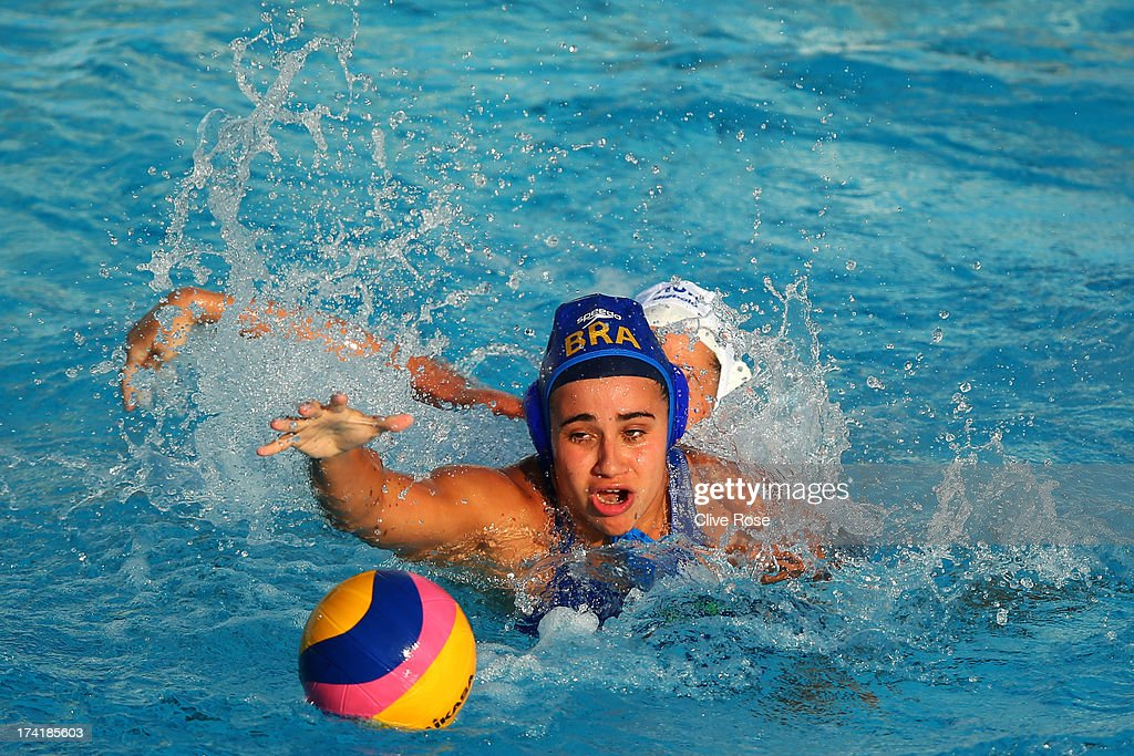 Lucianne Maia of Brazil in action during the Women's Water Polo first preliminary round match between Hungary and Brazil during Day Two of the 15th FINA World Championships at Piscines Bernat Picornell on July 21, 2013 in Barcelona, Spain.