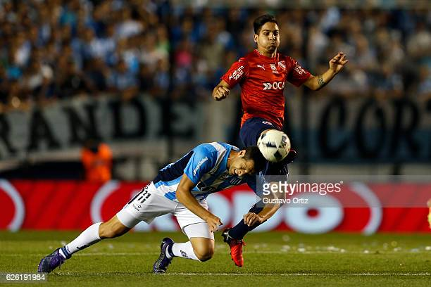 Luciano Aued of Racing Club and Ezequiel Barco of Independiente fight for the ball during a match between Racing Club and Independiente as part of...