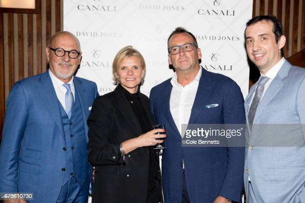 Luciano Azzoro Deborah Foreman Glenn Elliott and Vincenzo Canali arrive at the David Jones Canali Launch at Restaurant Hubert on April 27 2017 in...