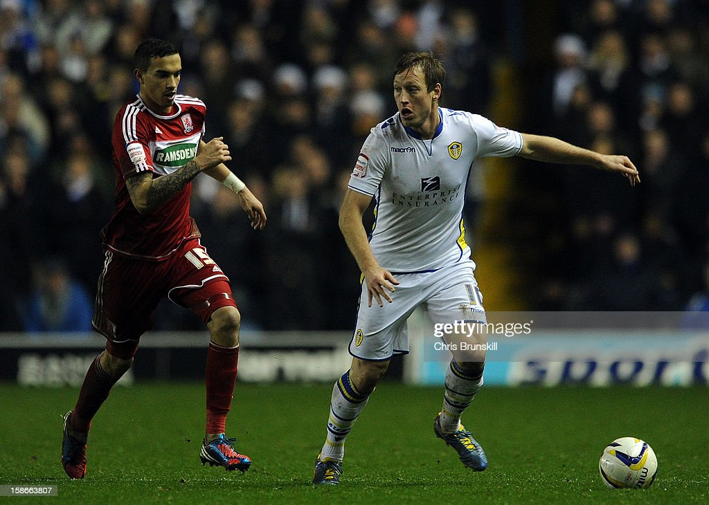 <a gi-track='captionPersonalityLinkClicked' href=/galleries/search?phrase=Luciano+Becchio&family=editorial&specificpeople=5489468 ng-click='$event.stopPropagation()'>Luciano Becchio</a> of Leeds United in action with <a gi-track='captionPersonalityLinkClicked' href=/galleries/search?phrase=Seb+Hines&family=editorial&specificpeople=808702 ng-click='$event.stopPropagation()'>Seb Hines</a> of Middlesbrough during the npower Championship match between Leeds United and Middlesbrough at Elland Road on December 22, 2012 in Leeds, England.