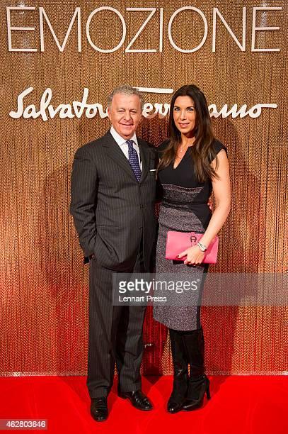 Luciano Bertinelli CEO of Salvatore Ferragamo Parfums and Alexandra Polzin pose during the Salvatore Ferragamo Emozione Fragrance Launch event at...