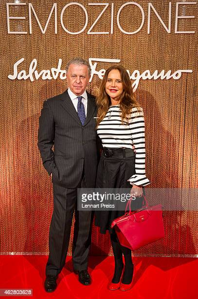 Luciano Bertinelli CEO of Salvatore Ferragamo Parfums and Doreen Dietel pose during the Salvatore Ferragamo Emozione Fragrance Launch event at...