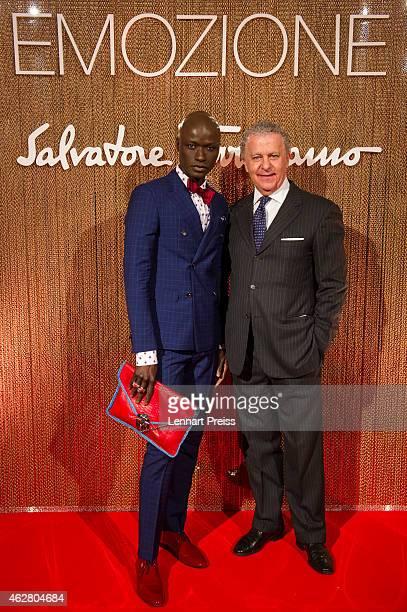Luciano Bertinelli CEO of Salvatore Ferragamo Parfums and Papis Loveday pose during the Salvatore Ferragamo Emozione Fragrance Launch event at...