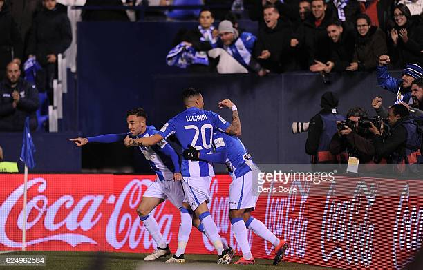 Luciano da Rocha Neves of CD Leganes celebrates with teammates after they scored their 2nd goal during the La Liga match between CD Leganes and CA...