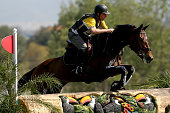 Luciano Drubi of Brazil riding Raica Lu competes in Cross Country during the Eventing Individual competition at the Olympic Equestrian Center at...