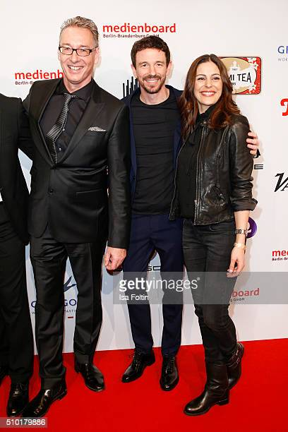 Luciano Floridi Oliver Berben and Funda Vanroy attend the Medienboard BerlinBrandenburg Reception on February 13 2016 in Berlin Germany