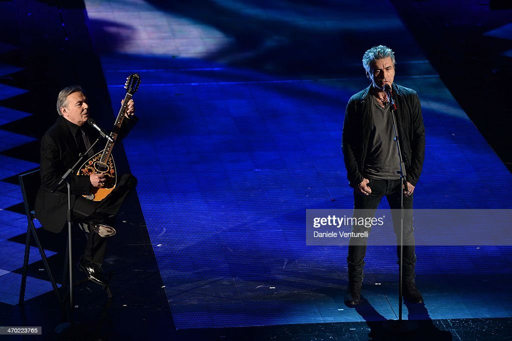 Luciano Ligabue and Mauro Pagani attend opening night of the 64th Festival di Sanremo 2014 at Teatro Ariston on February 18, 2014 in Sanremo, Italy.