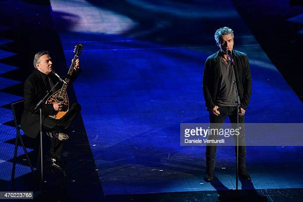 Luciano Ligabue and Mauro Pagani attend opening night of the 64th Festival di Sanremo 2014 at Teatro Ariston on February 18 2014 in Sanremo Italy
