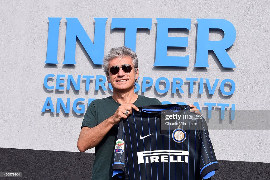 Luciano Ligabue attends an FC Internazionale training session at the club's training ground at Appiano Gentile on October 03, 2014 in Como, Italy.