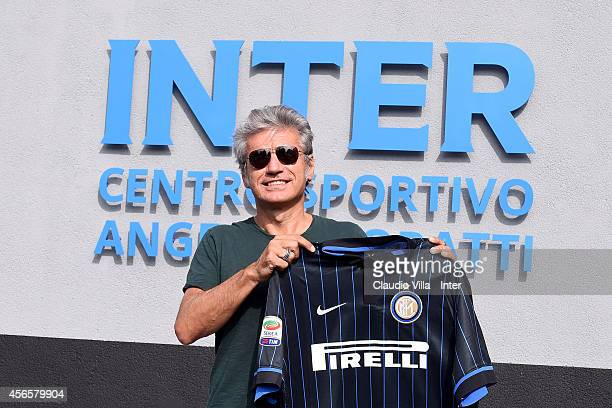 Luciano Ligabue attends an FC Internazionale training session at the club's training ground at Appiano Gentile on October 03 2014 in Como Italy