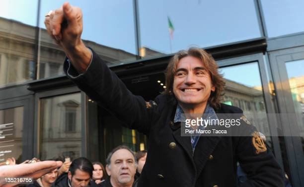 Luciano Ligabue meets fans at the Piazza Duomo on December 7 2011 in Milan Italy