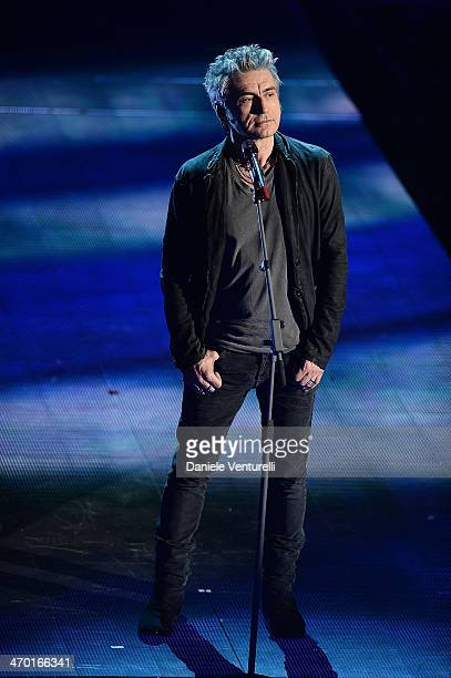 Luciano Ligabue performs during the opening night of the 64th Festival di Sanremo 2014 at Teatro Ariston on February 18 2014 in Sanremo Italy