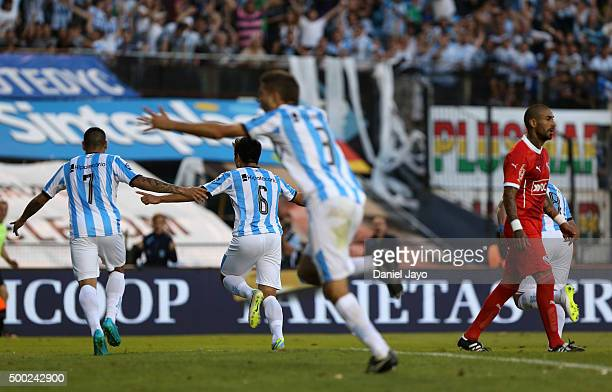 Luciano Lollo of Racing Club celebrates after scoring the first goal of his team during a second leg match between Independiente and Racing Club as...