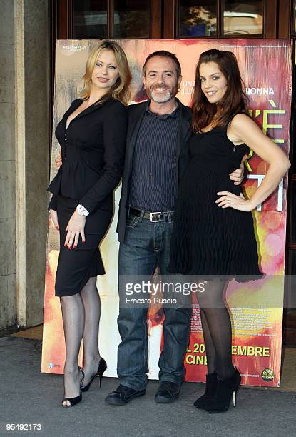Luciano Melchionna Anna Falchi and Micaela Ramazzotti attend the'Ce N'e Per Tutti' photocall at Embassy Cinema on November 17 2009 in Rome Italy