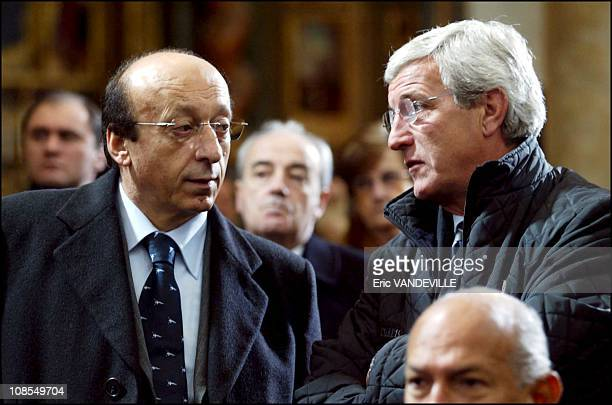 Luciano Moggi and Marcello Lippi President and coach of the Juventus soccer Club in Turin Italy on January 26th 2003