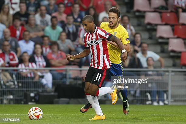 Luciano Narshingh of PSV Yohan Tavares of Estoril Praia during the UEFA Europa League match between PSV and GD Estoril Praia on September 18 2014 at...