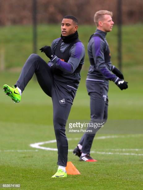 Luciano Narsingh and Stephen Kingsley in action during the Swansea City Training at The Fairwood Training Ground on March 15 2017 in Swansea Wales