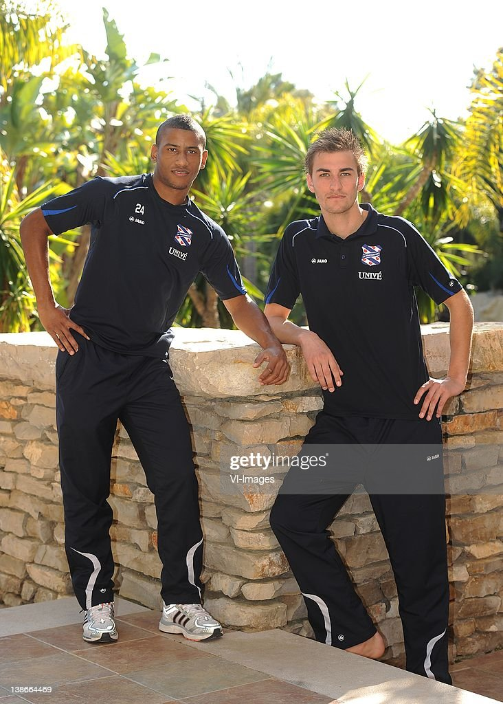 Luciano Narsingh (L),Bas Dost (R) of SC Heerenveen during a photoshoot at the winter training camp on January 11, 2012 in Ferreira, Portugal.