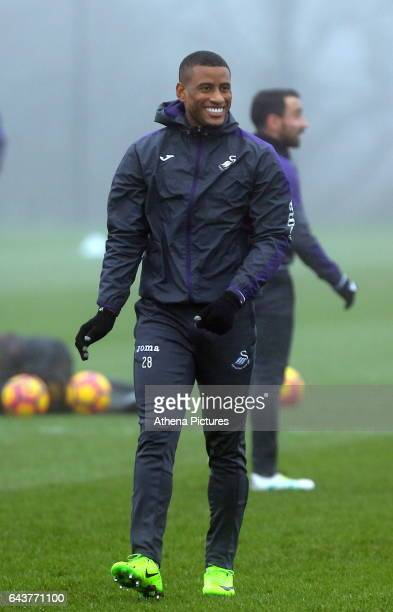 Luciano Narsingh in action during the Swansea City Training at The Fairwood Training Ground on February 22 2017 in Swansea Wales